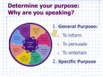 determine your purpose why are you speaking