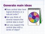 generate main ideas