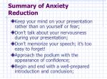 summary of anxiety reduction