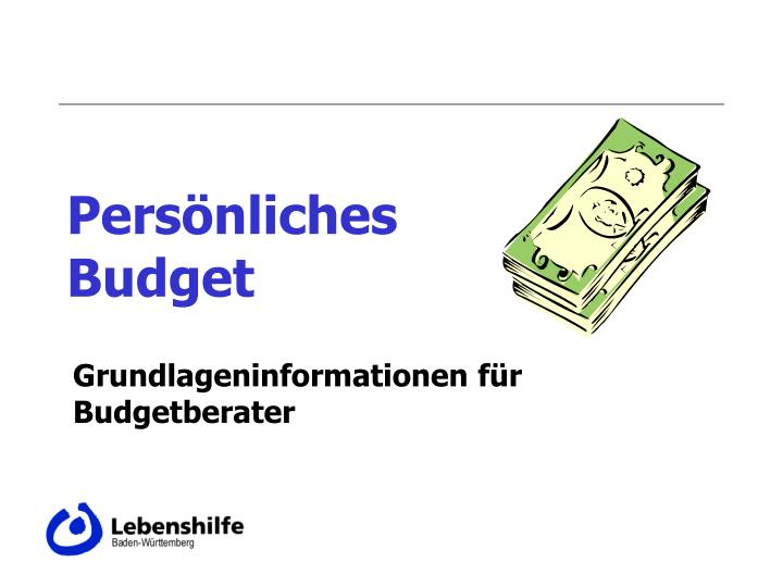 pers nliches budget n.