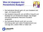 was ist dagegen das pers nliche budget