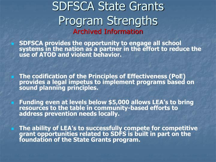 sdfsca state grants program strengths archived information n.
