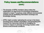 policy issues and recommendations cont