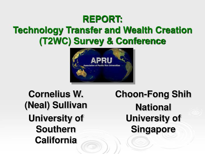 report technology transfer and wealth creation t2wc survey conference n.