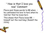 how is that i love you now comment