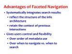 advantages of faceted navigation