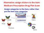 alternative assign stickers to the item medicare prescription drug plan scam