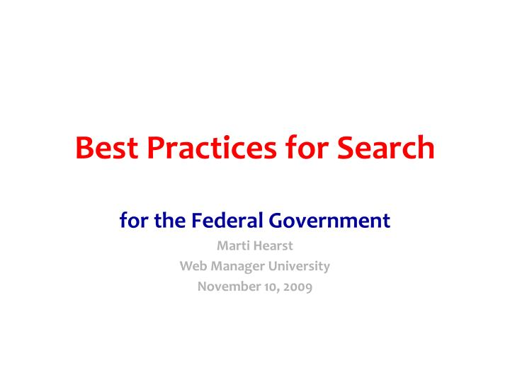 best practices for search n.