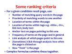 some ranking criteria