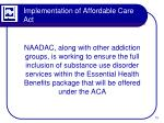implementation of affordable care act