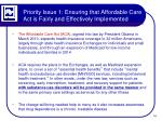 priority issue 1 ensuring that affordable care act is fairly and effectively implemented