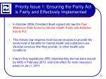 priority issue 1 ensuring the parity act is fairly and effectively implemented