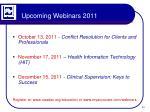 upcoming webinars 2011