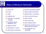 ways of being an advocate