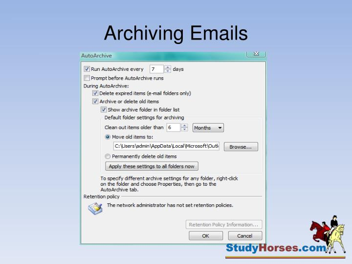Archiving Emails