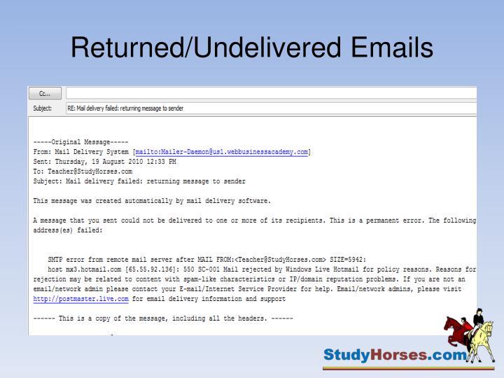 Returned/Undelivered Emails