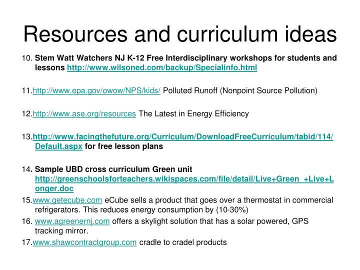Resources and curriculum ideas