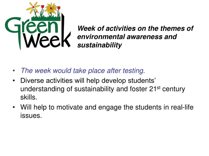 Week of activities on the themes of environmental awareness and sustainability