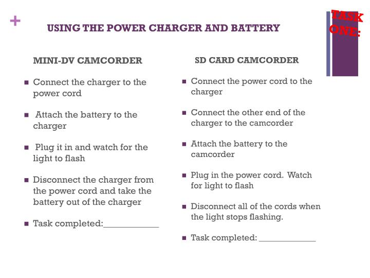 using the power charger and battery n.