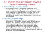 3 2 where securities are traded types of secondary markets