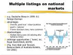 multiple listings on national markets