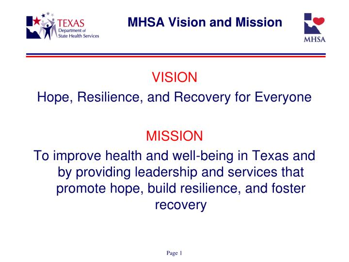 mhsa vision and mission n.
