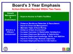 board s 3 year emphasis action attention needed within two years