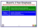 board s 3 year emphasis maintain improve performance over next three years