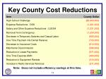 key county cost reductions