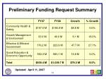 preliminary funding request summary