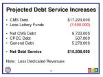 projected debt service increases