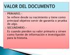 valor del documento