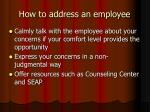 how to address an employee