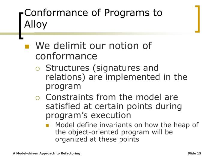 Conformance of Programs to Alloy