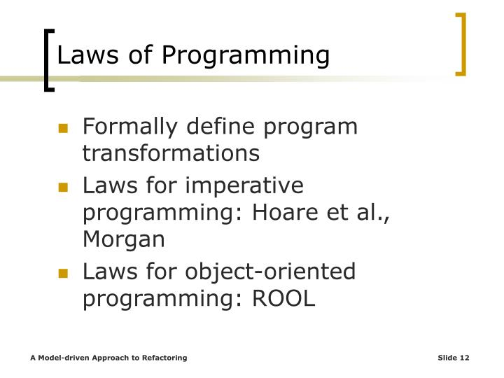 Laws of Programming