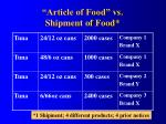 article of food vs shipment of food
