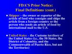fda s prior notice final definitions cont