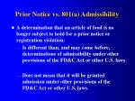 prior notice vs 801 a admissibility