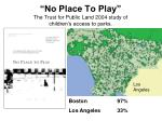 no place to play the trust for public land 2004 study of children s access to parks