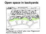 open space in backyards