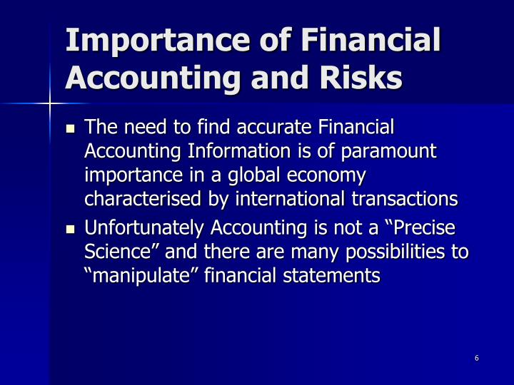 Importance of Financial Accounting and Risks