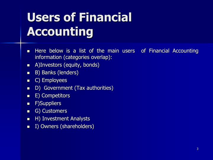 Users of financial accounting