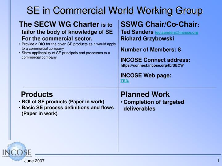 se in commercial world working group n.