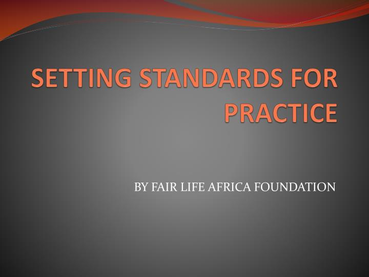 setting standards for practice n.