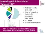 informing clinicians about missed hiv