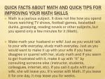 quick facts about math and quick tips for improving your math skills
