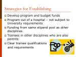 strategies for establishing