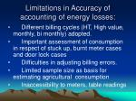 limitations in accuracy of accounting of energy losses