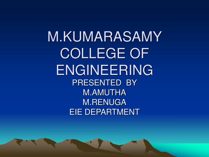 m kumarasamy college of engineering n.