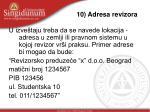 10 adresa revizora